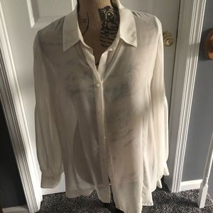Mesh Crepe Blouse w/ Shell & Pleated Sleeves